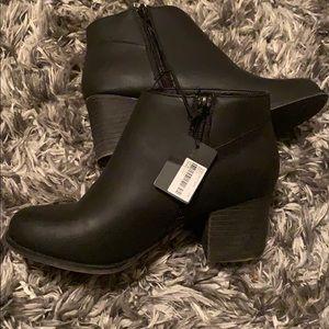 Women's black heel booties